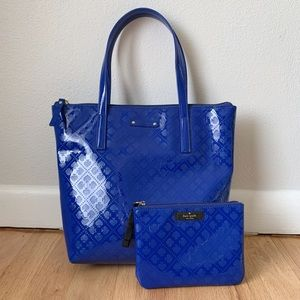 Kate Spade blue vinyl tote w/ matching zip pouch